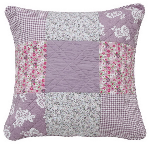 Lila patchwork párna