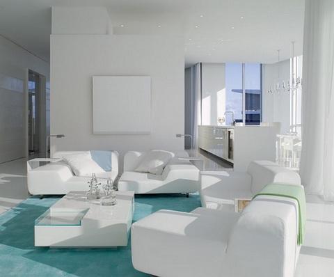 Hófehér elegáns modern nappali