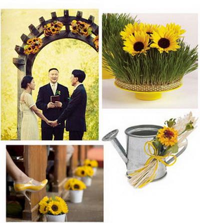 napraforgós téma esküvőre