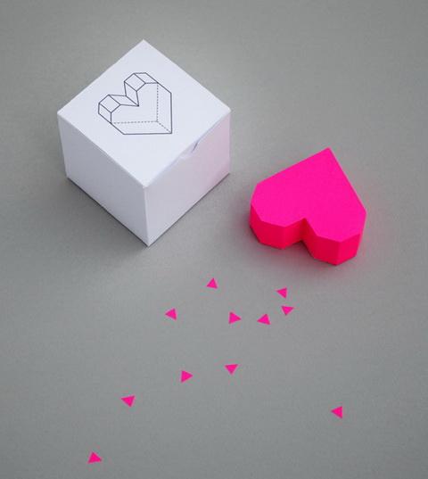 hajtogatott papírszív Valentin napra