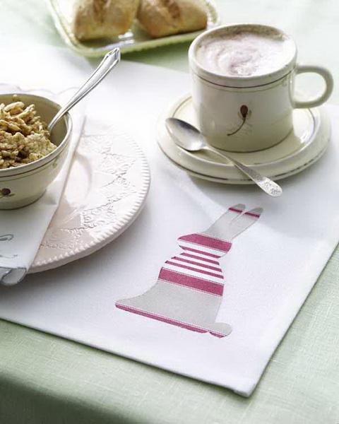 Ostern: Tischset mit Hasenapplikation