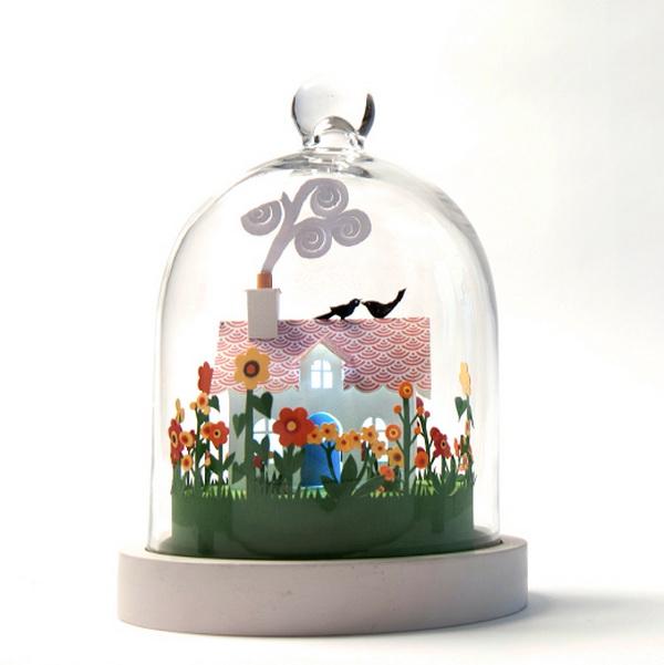 papír art üvegbura alatt