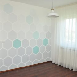 DIY hexagon mintás ombre fal