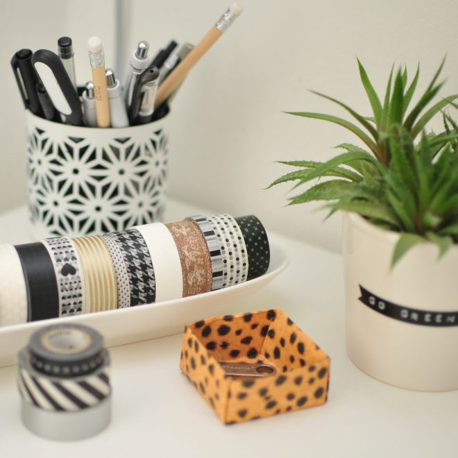 Office corner with washi tapes